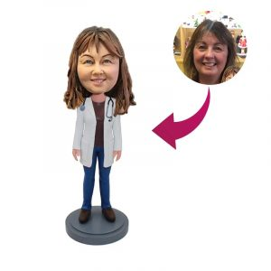 Female Doctor with Stethoscope Bobblehead Style A